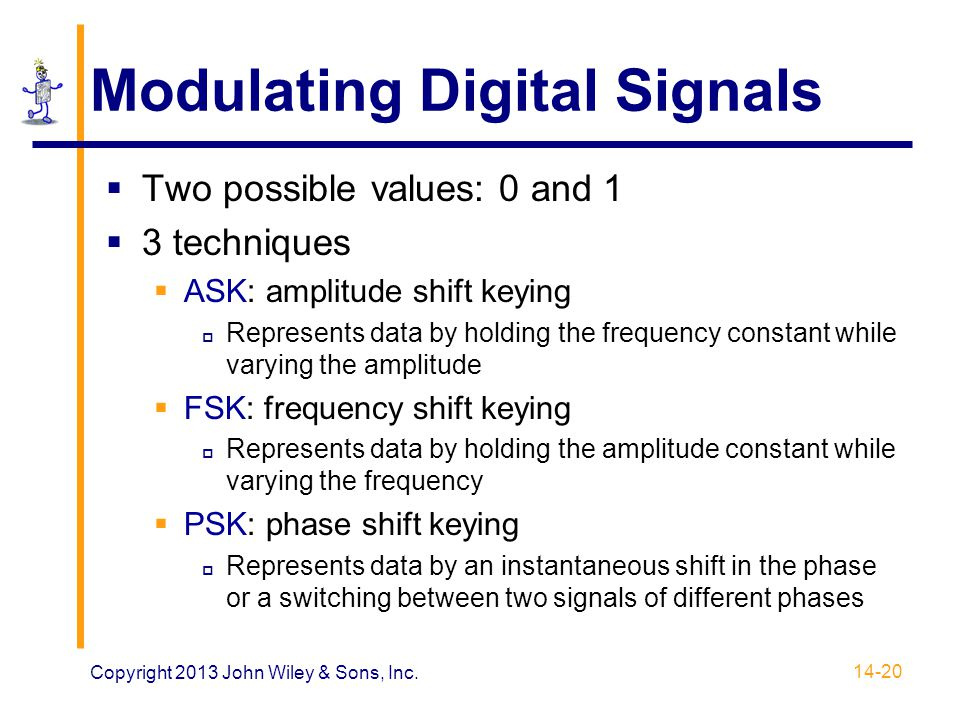 Modulating Digital Signals  Two possible values: 0 and 1  3 techniques  ASK: amplitude shift keying  Represents data by holding the frequency cons