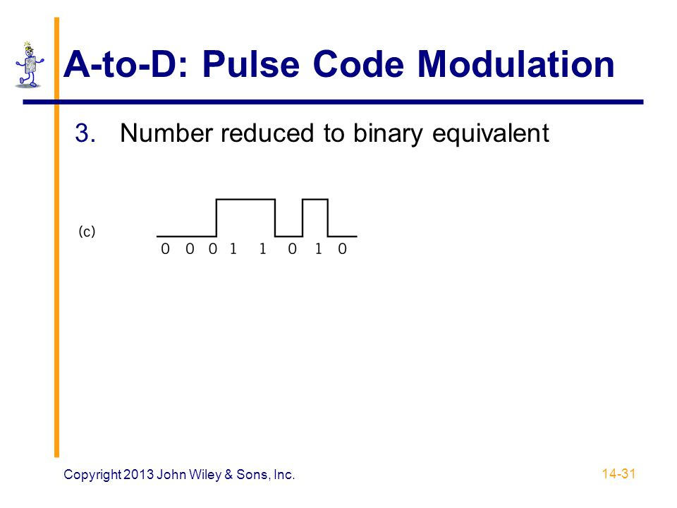 A-to-D: Pulse Code Modulation 3.Number reduced to binary equivalent 14-31 Copyright 2013 John Wiley & Sons, Inc.