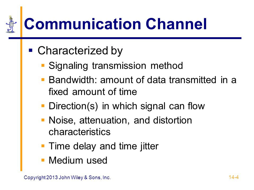 Synchronizing Digital Signals  Synchronizing digital signals difficult  Asynchronous transmission  Clear start and stop signals  Small number of bits, usually one byte  Use: low-speed modems, Ethernet frames  Synchronous transmission  Continuous digital signal  Use: high-speed modems and point-to- point methods 14-25 Copyright 2013 John Wiley & Sons, Inc.