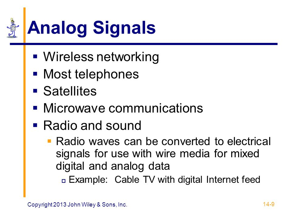 Electromagnetic Waves  Microwaves  Frequencies below light but above 1 GHz  Unguided medium  Tightly focused for point-to-point use  Highly susceptible to interference  Applications  Large-scale Internet backbone channels  Direct satellite-to-home TV  IEEE 802.11 Wi-Fi 14-40 Copyright 2013 John Wiley & Sons, Inc.