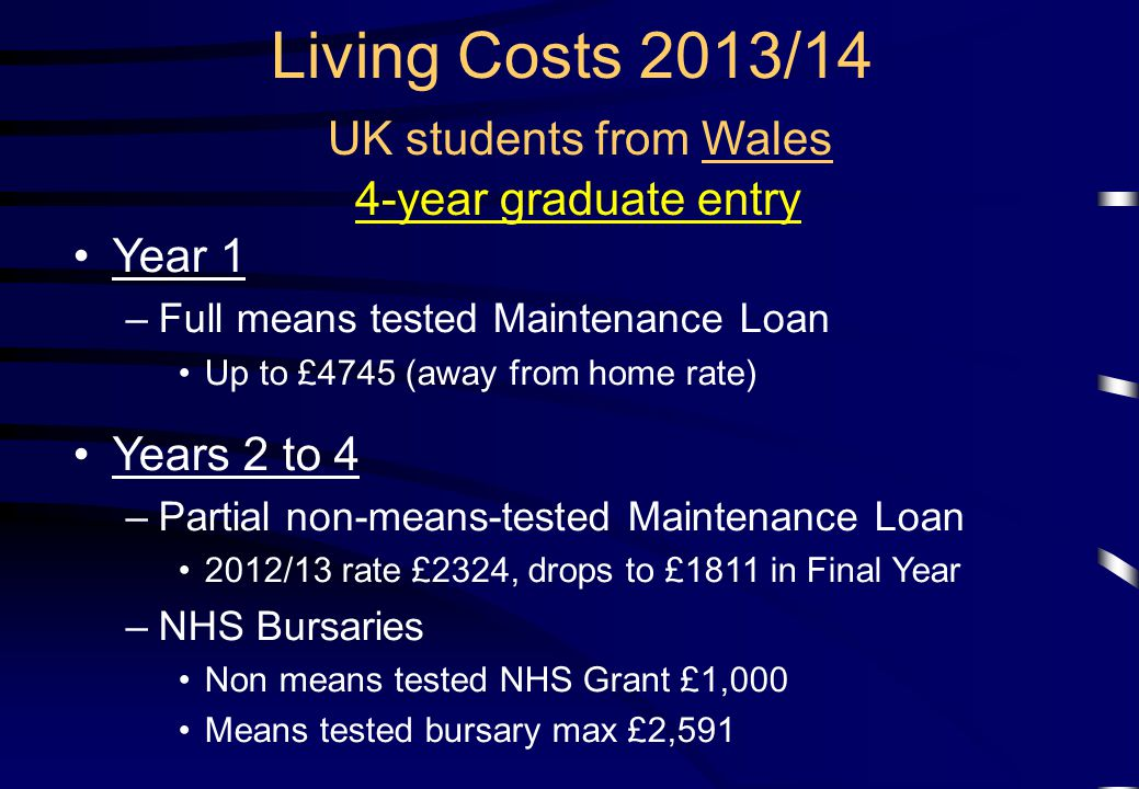 Living Costs 2013/14 UK students from Wales 4-year graduate entry Year 1 –Full means tested Maintenance Loan Up to £4745 (away from home rate) Years 2 to 4 –Partial non-means-tested Maintenance Loan 2012/13 rate £2324, drops to £1811 in Final Year –NHS Bursaries Non means tested NHS Grant £1,000 Means tested bursary max £2,591