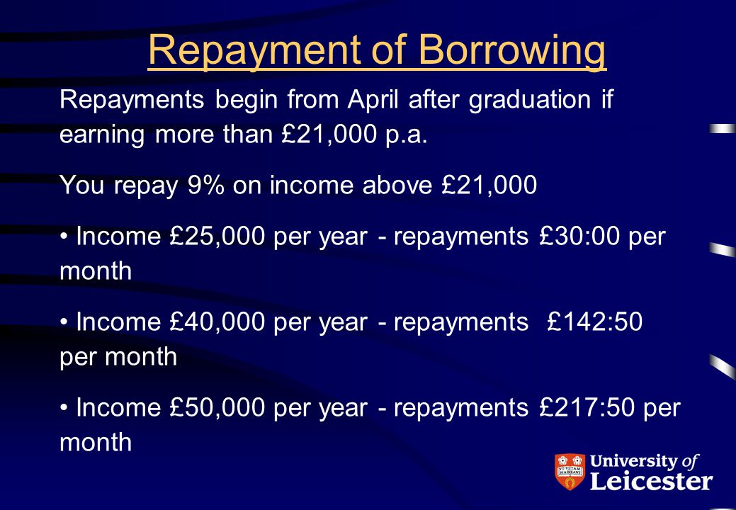 Repayment of Borrowing Repayments begin from April after graduation if earning more than £21,000 p.a.
