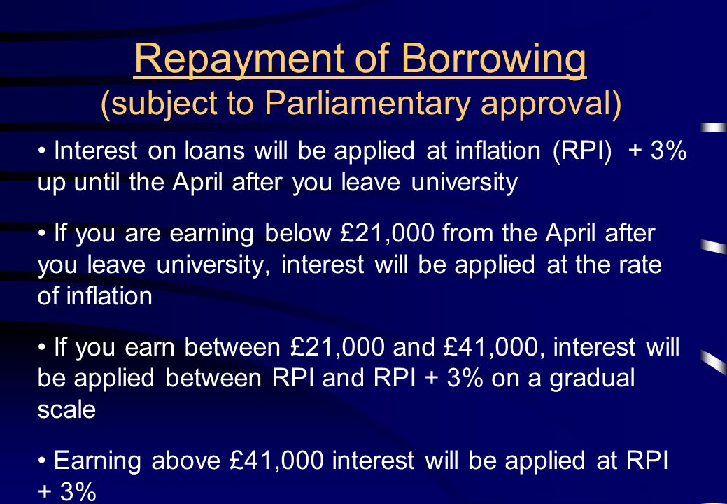 Interest on loans will be applied at inflation (RPI) + 3% up until the April after you leave university If you are earning below £21,000 from the April after you leave university, interest will be applied at the rate of inflation If you earn between £21,000 and £41,000, interest will be applied between RPI and RPI + 3% on a gradual scale Earning above £41,000 interest will be applied at RPI + 3% Repayment of Borrowing (subject to Parliamentary approval)