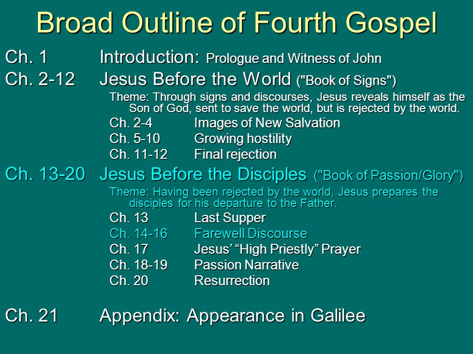 Broad Outline of Fourth Gospel Ch.1Introduction: Prologue and Witness of John Ch.