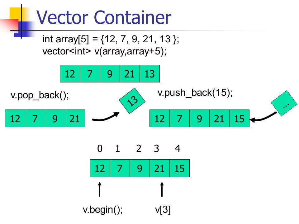 Vector Container 12792113 int array[5] = {12, 7, 9, 21, 13 }; vector v(array,array+5); v.begin(); 127921 13 v.push_back(15); 127921 … 15 12792115 v[3] 0 1 2 3 4 v.pop_back();