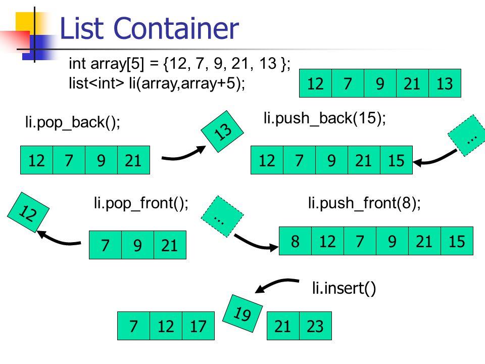List Container 12792113 int array[5] = {12, 7, 9, 21, 13 }; list li(array,array+5); 7921 12 li.push_front(8); 127921 … 15 li.pop_front(); 127921 13 li.push_back(15); 127921 … 15 li.pop_back(); 8 712172123 li.insert() 19