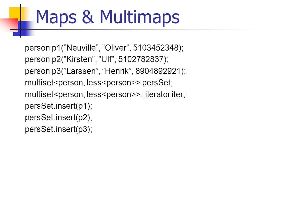 Maps & Multimaps person p1( Neuville , Oliver , 5103452348); person p2( Kirsten , Ulf , 5102782837); person p3( Larssen , Henrik , 8904892921); multiset > persSet; multiset >::iterator iter; persSet.insert(p1); persSet.insert(p2); persSet.insert(p3);