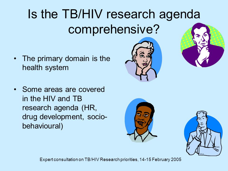 Expert consultation on TB/HIV Research priorities, 14-15 February 2005 Is the TB/HIV research agenda comprehensive.
