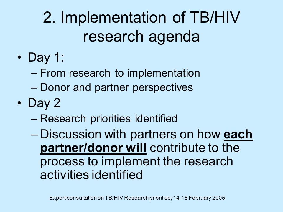 Expert consultation on TB/HIV Research priorities, February