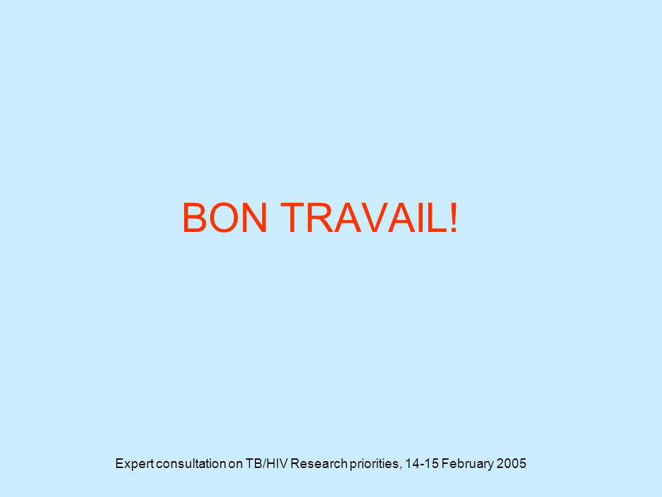 Expert consultation on TB/HIV Research priorities, 14-15 February 2005 BON TRAVAIL!