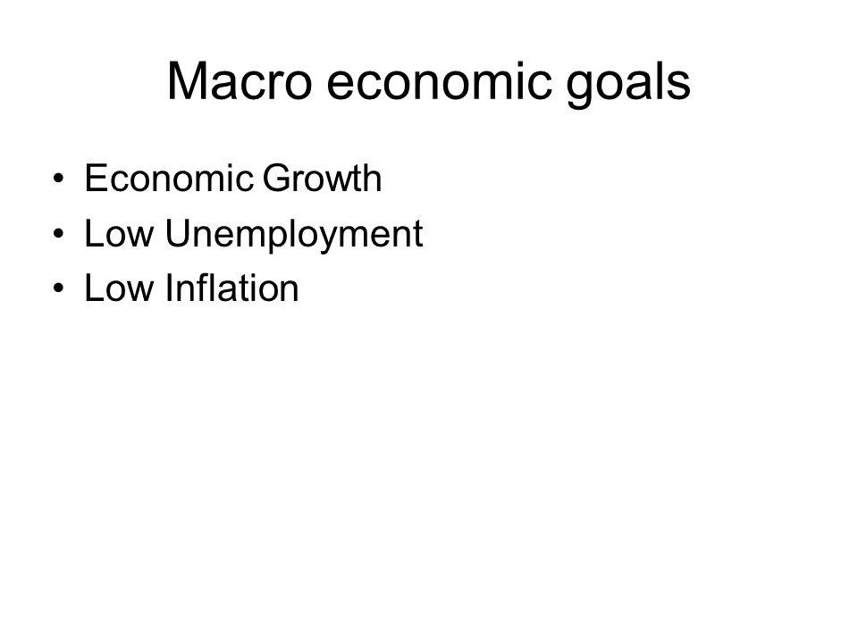 Macro economic goals Economic Growth Low Unemployment Low Inflation