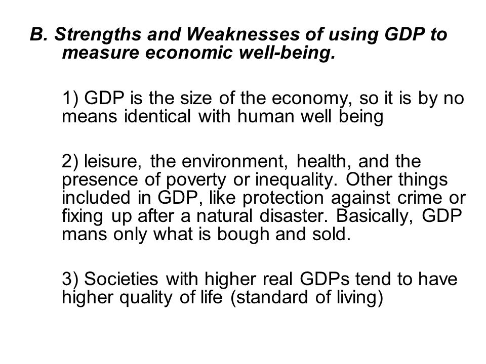 B. Strengths and Weaknesses of using GDP to measure economic well-being.
