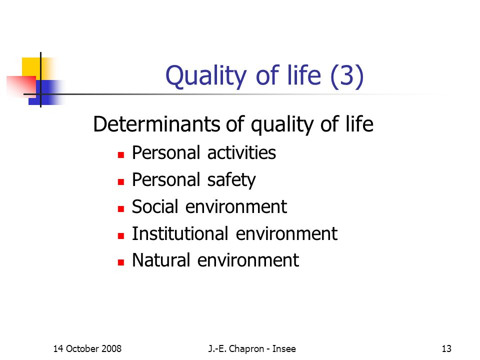 14 October 2008J.-E. Chapron - Insee13 Quality of life (3) Determinants of quality of life Personal activities Personal safety Social environment Inst