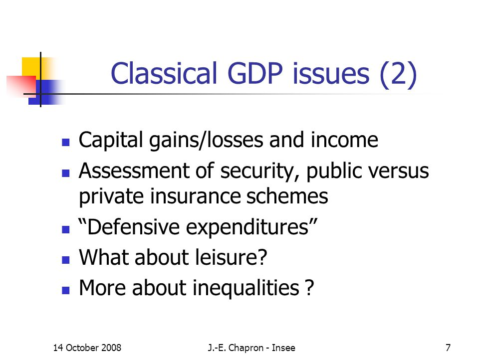14 October 2008J.-E. Chapron - Insee7 Classical GDP issues (2) Capital gains/losses and income Assessment of security, public versus private insurance