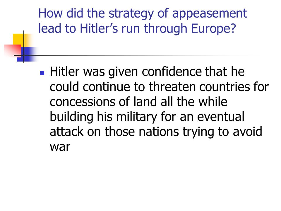 How did the strategy of appeasement lead to Hitler's run through Europe.