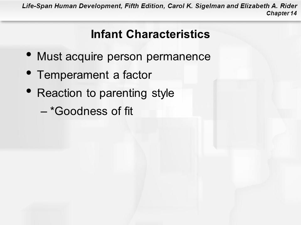 Life-Span Human Development, Fifth Edition, Carol K. Sigelman and Elizabeth A. Rider Chapter 14 Infant Characteristics Must acquire person permanence
