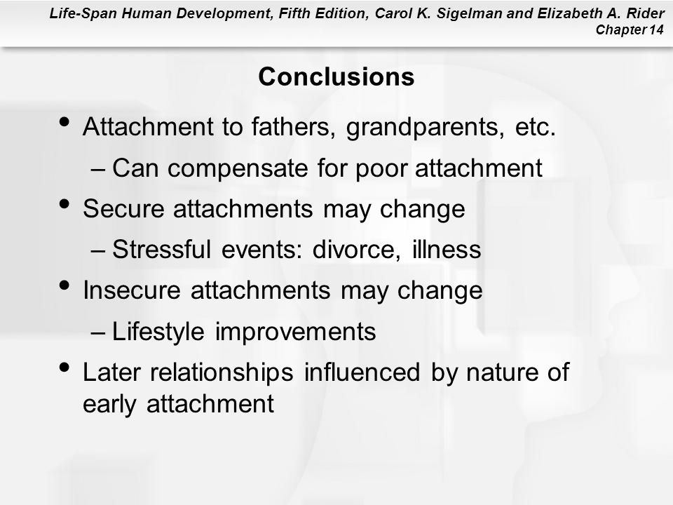Life-Span Human Development, Fifth Edition, Carol K. Sigelman and Elizabeth A. Rider Chapter 14 Conclusions Attachment to fathers, grandparents, etc.