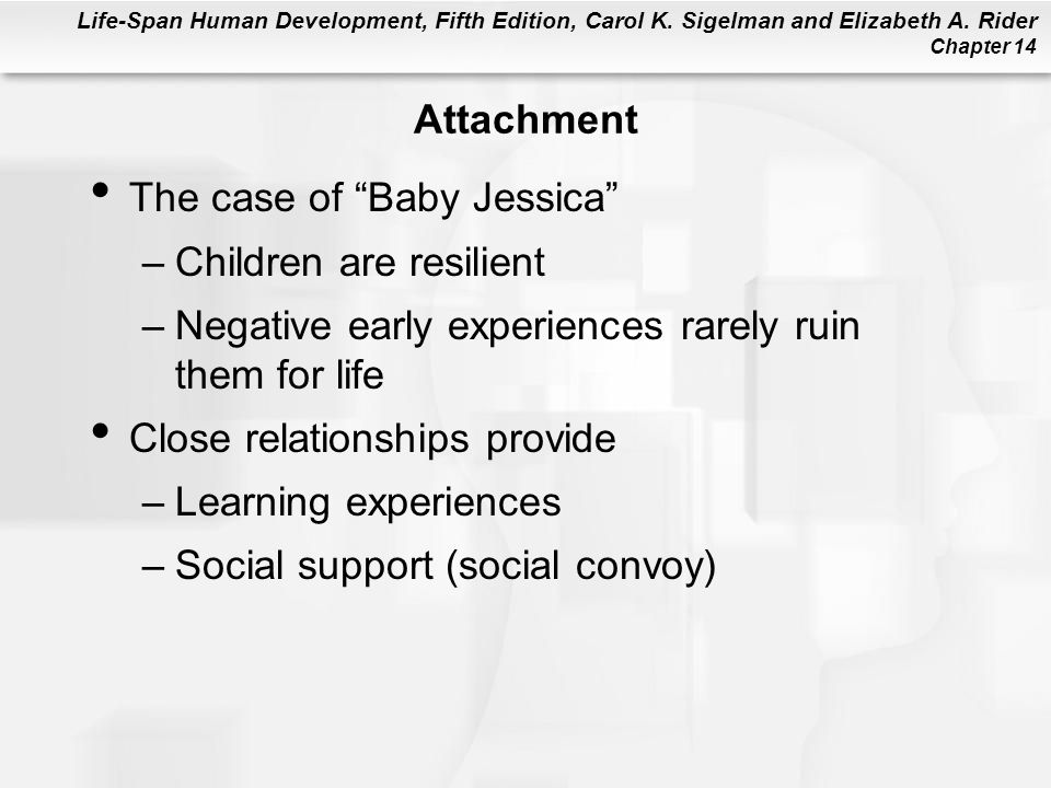 """Life-Span Human Development, Fifth Edition, Carol K. Sigelman and Elizabeth A. Rider Chapter 14 Attachment The case of """"Baby Jessica"""" –Children are re"""