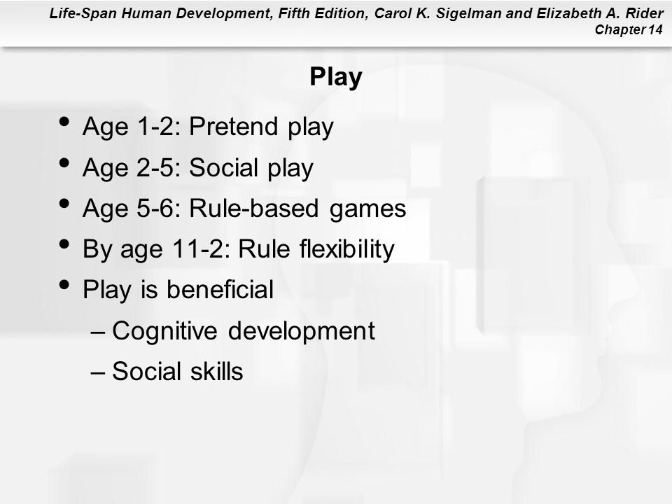 Life-Span Human Development, Fifth Edition, Carol K. Sigelman and Elizabeth A. Rider Chapter 14 Play Age 1-2: Pretend play Age 2-5: Social play Age 5-