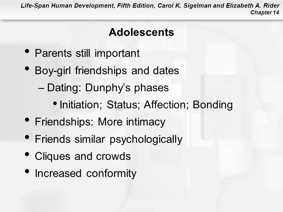 Life-Span Human Development, Fifth Edition, Carol K. Sigelman and Elizabeth A. Rider Chapter 14 Adolescents Parents still important Boy-girl friendshi