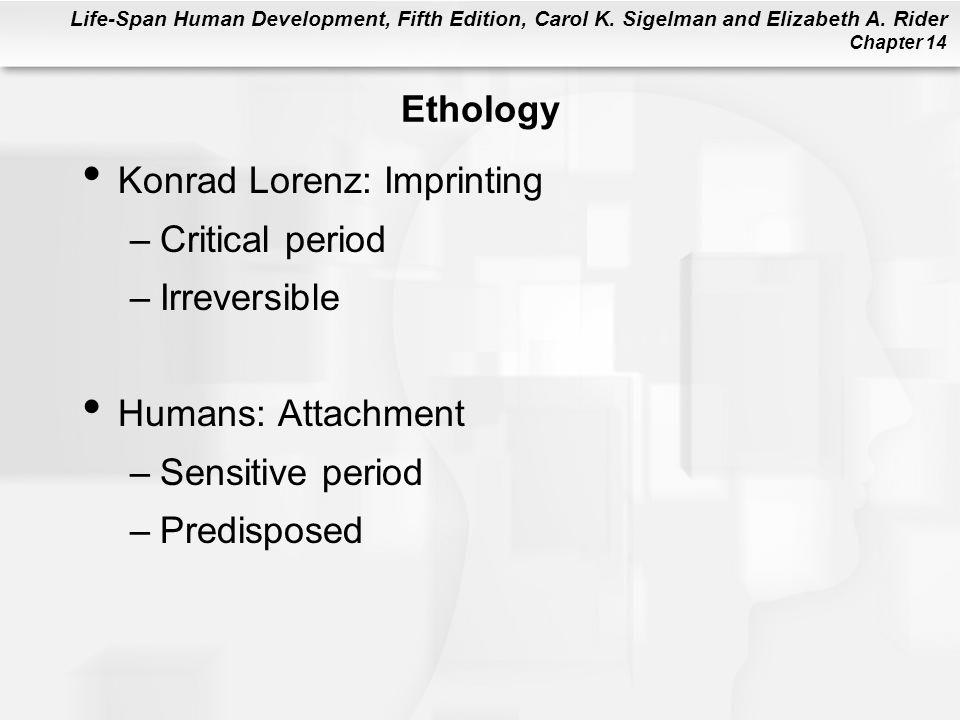 Life-Span Human Development, Fifth Edition, Carol K. Sigelman and Elizabeth A. Rider Chapter 14 Ethology Konrad Lorenz: Imprinting –Critical period –I