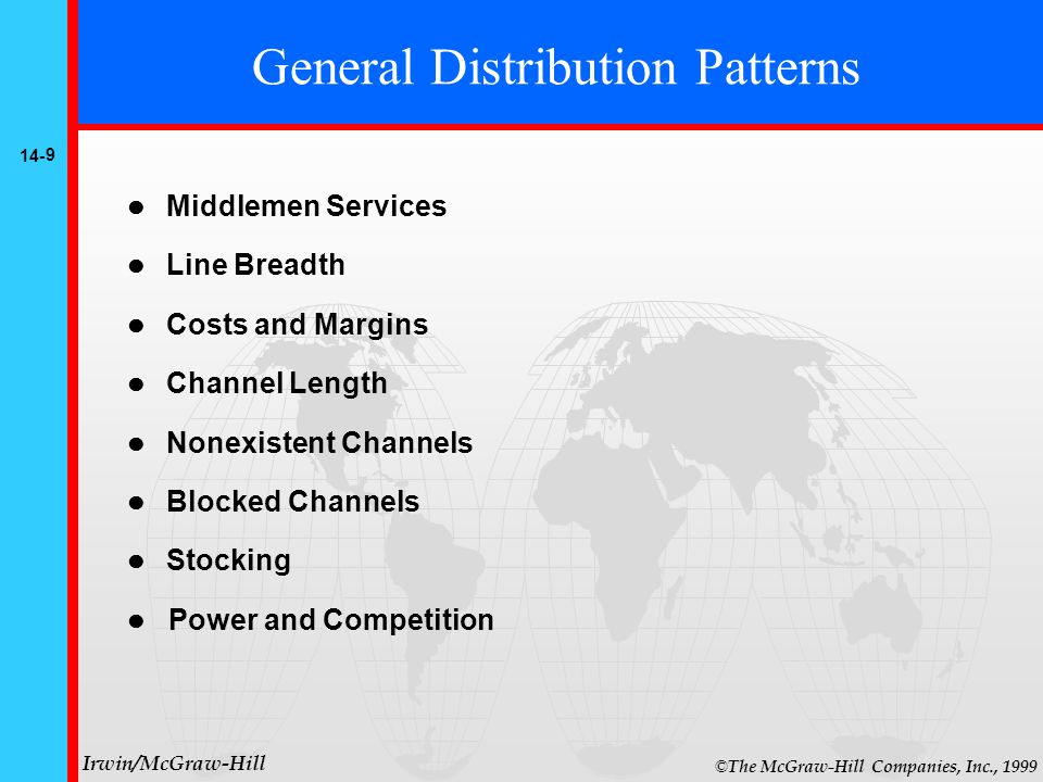 14- 9 © The McGraw-Hill Companies, Inc., 1999 Irwin/McGraw-Hill Middlemen Services Line Breadth Costs and Margins Channel Length Nonexistent Channels Blocked Channels Stocking Power and Competition General Distribution Patterns