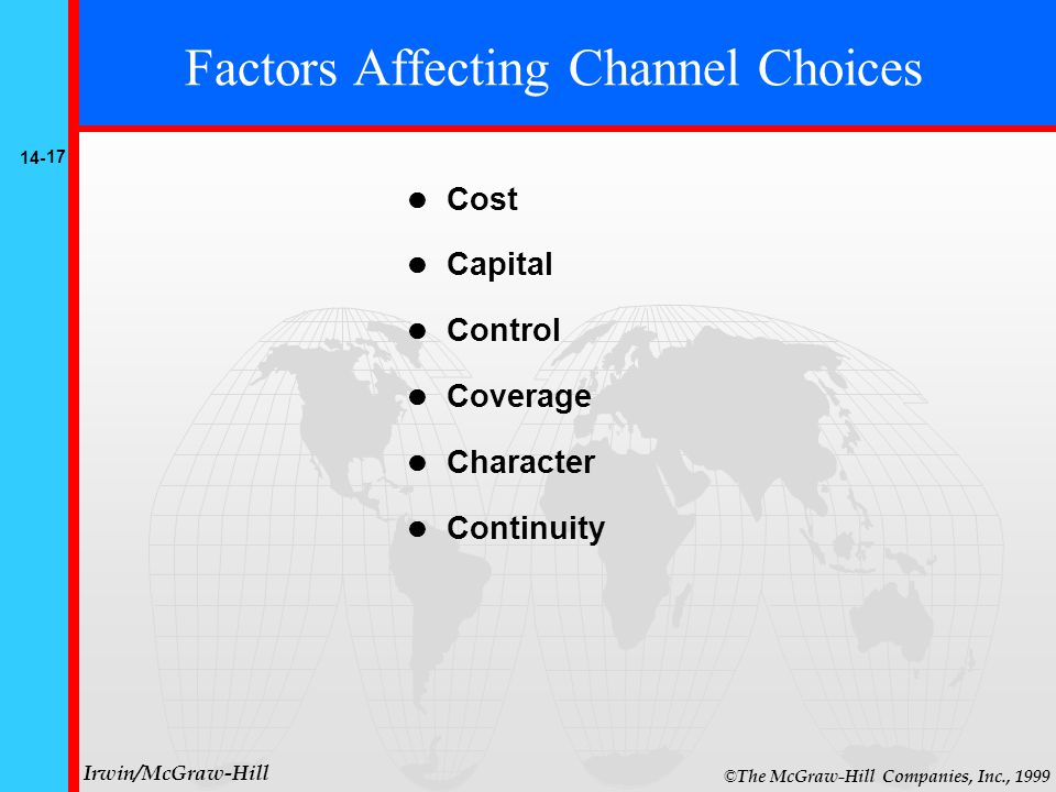 14- 17 © The McGraw-Hill Companies, Inc., 1999 Irwin/McGraw-Hill Factors Affecting Channel Choices Cost Capital Control Coverage Character Continuity