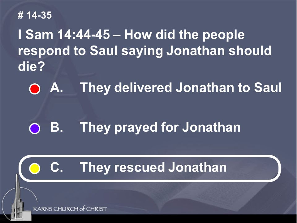 I Sam 14:44-45 – How did the people respond to Saul saying Jonathan should die.