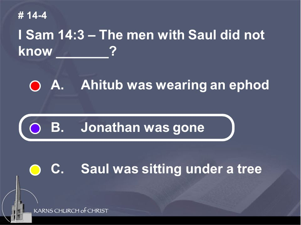 I Sam 14:3 – The men with Saul did not know _______.