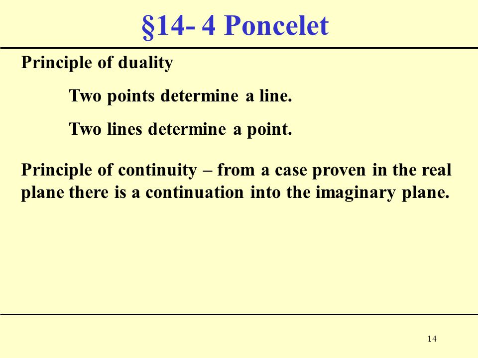 14 §14- 4 Poncelet Principle of duality Two points determine a line.