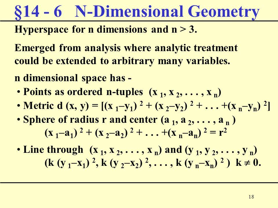 18 §14 - 6 N-Dimensional Geometry Hyperspace for n dimensions and n > 3.