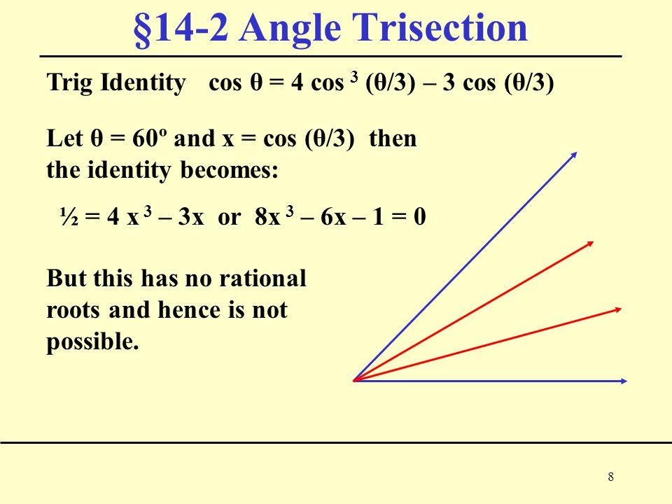 8 §14-2 Angle Trisection Trig Identity cos θ = 4 cos 3 (θ/3) – 3 cos (θ/3) Let θ = 60º and x = cos (θ/3) then the identity becomes: ½ = 4 x 3 – 3x or 8x 3 – 6x – 1 = 0 But this has no rational roots and hence is not possible.
