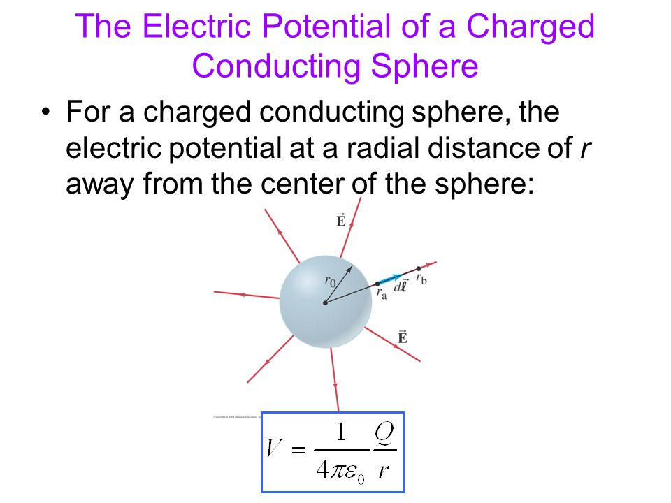 The Electric Potential of a Charged Conducting Sphere For a charged conducting sphere, the electric potential at a radial distance of r away from the