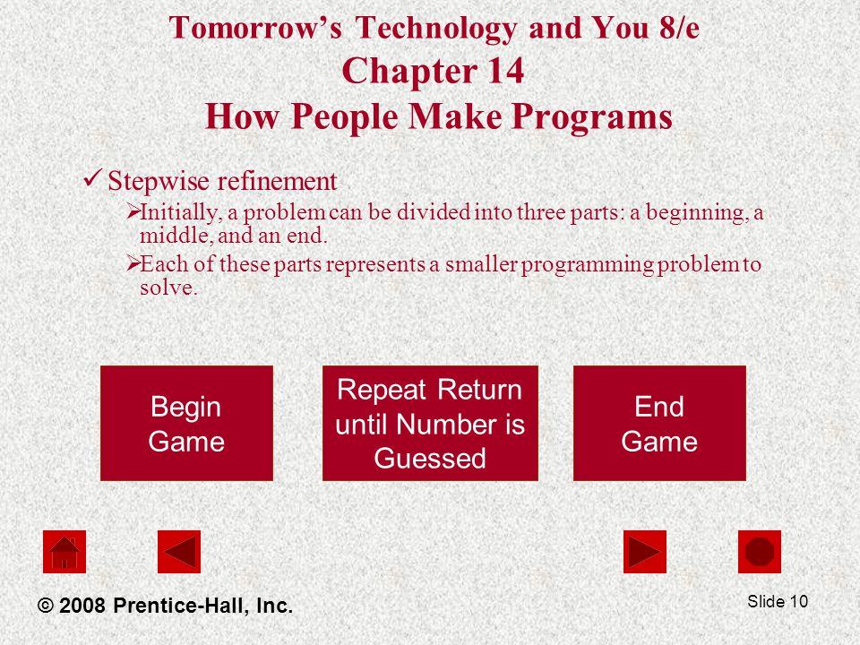 Slide 10 Tomorrow's Technology and You 8/e Chapter 14 How People Make Programs Stepwise refinement  Initially, a problem can be divided into three parts: a beginning, a middle, and an end.