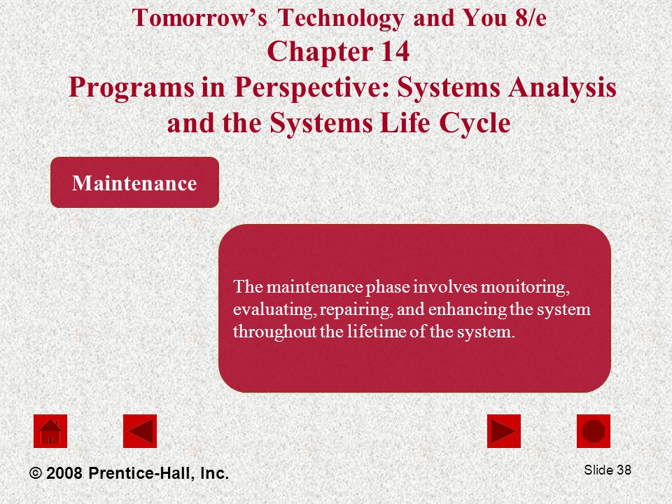 Slide 38 Tomorrow's Technology and You 8/e Chapter 14 Programs in Perspective: Systems Analysis and the Systems Life Cycle © 2008 Prentice-Hall, Inc.