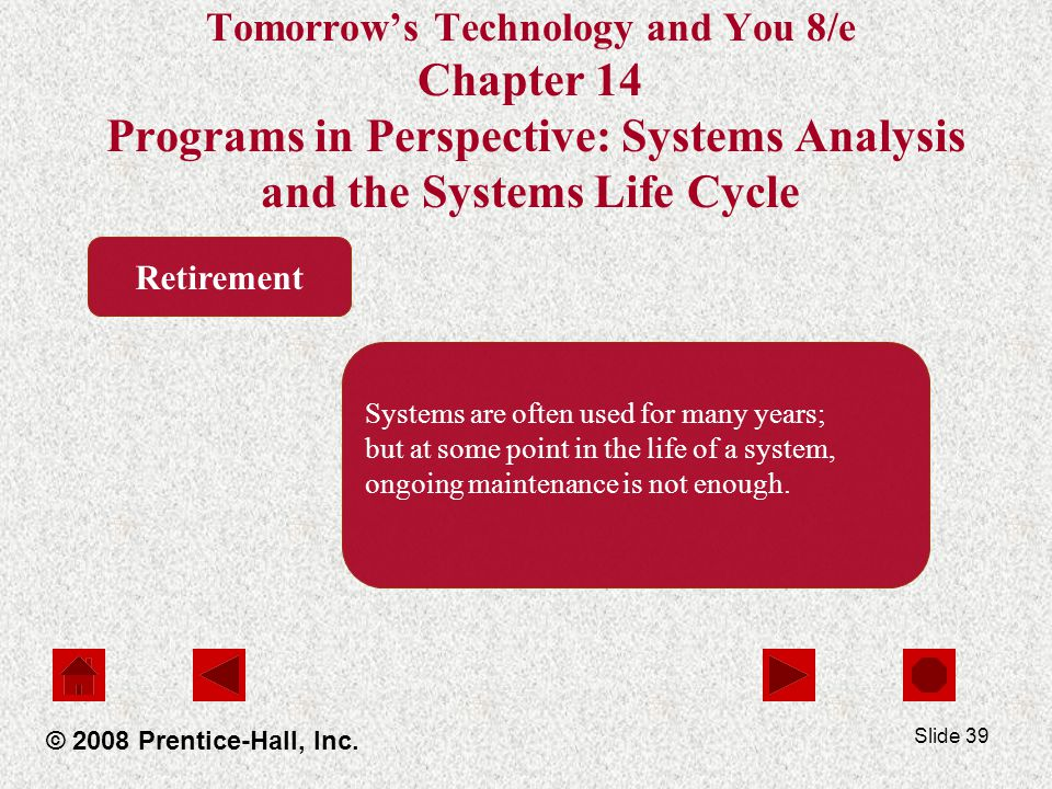 Slide 39 Tomorrow's Technology and You 8/e Chapter 14 Programs in Perspective: Systems Analysis and the Systems Life Cycle © 2008 Prentice-Hall, Inc.