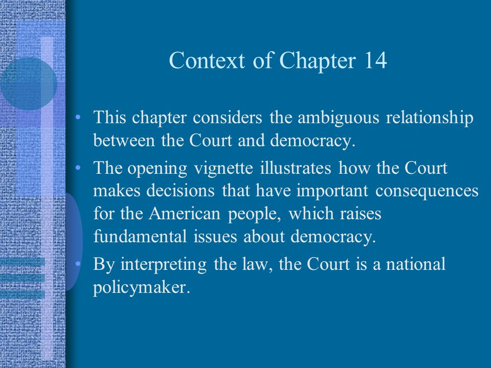 Context of Chapter 14 This chapter considers the ambiguous relationship between the Court and democracy.
