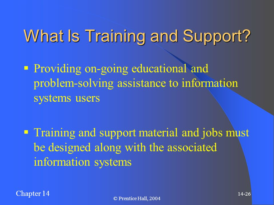 Chapter 14 14-26 © Prentice Hall, 2004 What Is Training and Support.