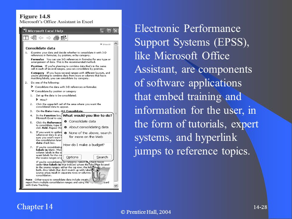 Chapter 14 14-28 © Prentice Hall, 2004 Electronic Performance Support Systems (EPSS), like Microsoft Office Assistant, are components of software applications that embed training and information for the user, in the form of tutorials, expert systems, and hyperlink jumps to reference topics.