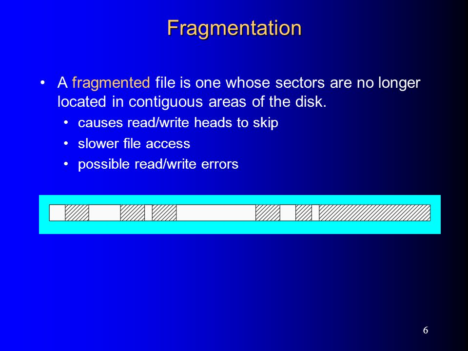6 Fragmentation A fragmented file is one whose sectors are no longer located in contiguous areas of the disk.