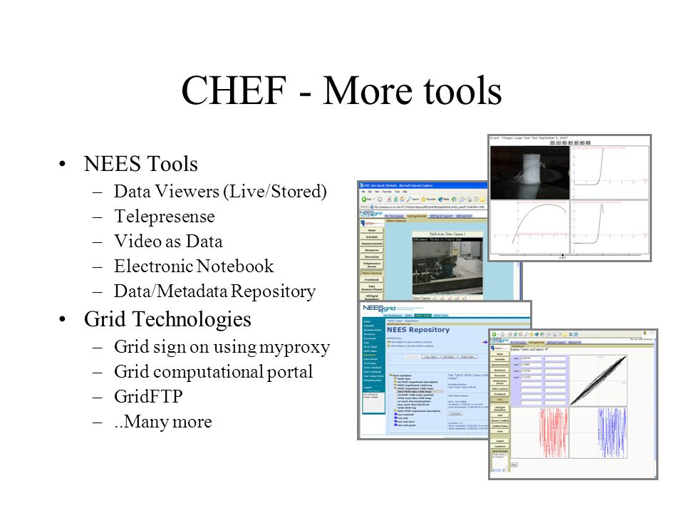 CHEF - More tools NEES Tools –Data Viewers (Live/Stored) –Telepresense –Video as Data –Electronic Notebook –Data/Metadata Repository Grid Technologies