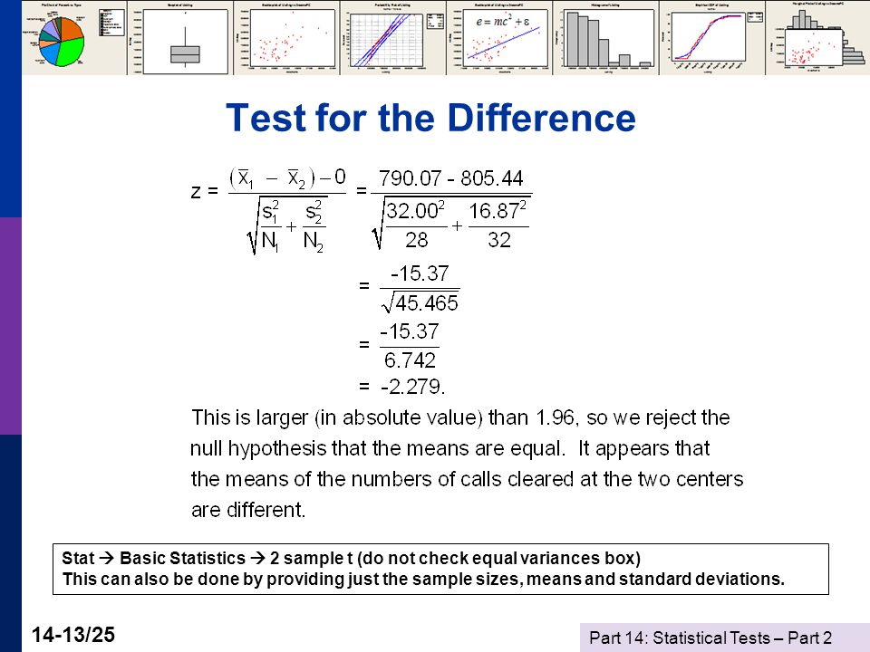 Part 14: Statistical Tests – Part 2 14-13/25 Test for the Difference Stat  Basic Statistics  2 sample t (do not check equal variances box) This can also be done by providing just the sample sizes, means and standard deviations.