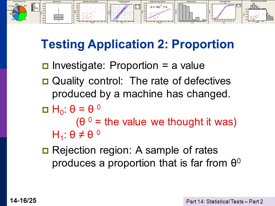 Part 14: Statistical Tests – Part 2 14-16/25 Testing Application 2: Proportion  Investigate: Proportion = a value  Quality control: The rate of defectives produced by a machine has changed.