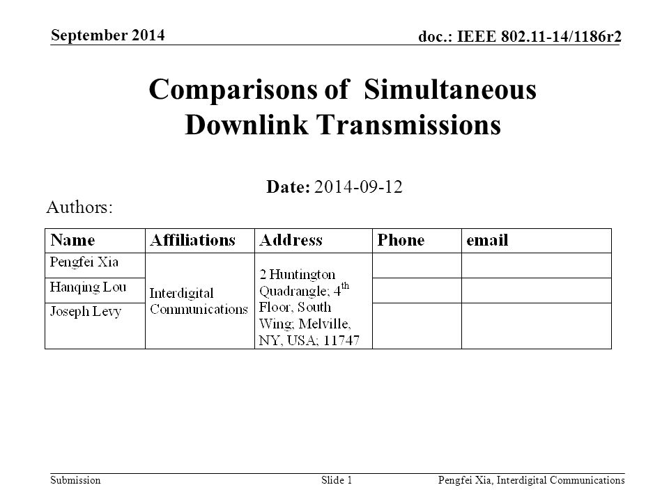 Submission doc.: IEEE 802.11-14/1186r2 September 2014 Pengfei Xia, Interdigital CommunicationsSlide 2 Abstract Downlink simultaneous transmissions is an important candidate technology and may be required to achieve improved spectral efficiency in dense network environments.