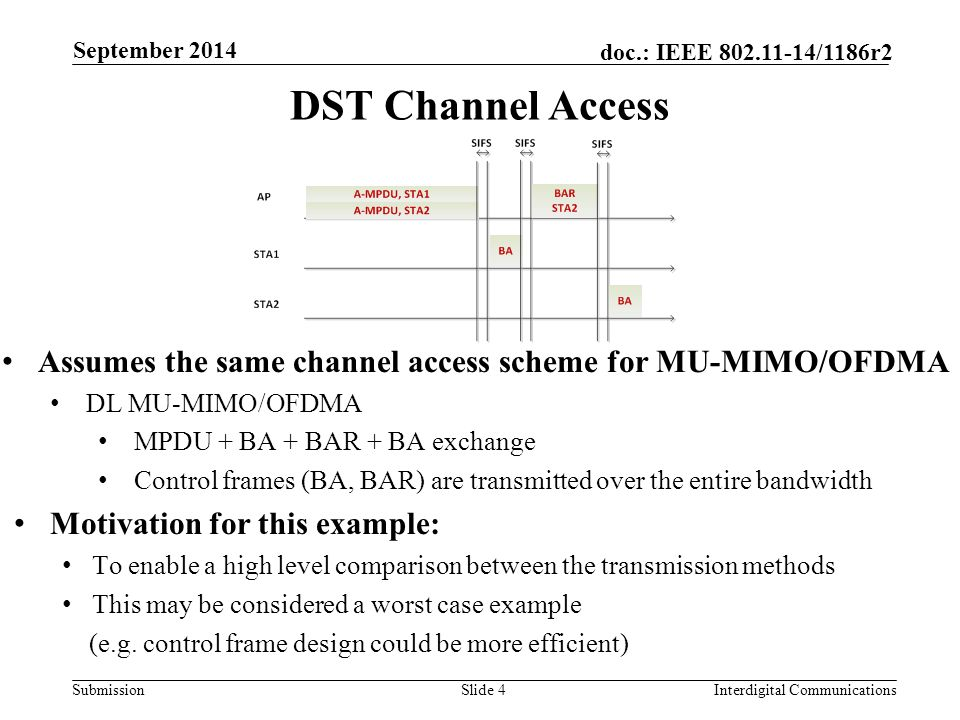 Submission doc.: IEEE 802.11-14/1186r2 DST Channel Access Assumes the same channel access scheme for MU-MIMO/OFDMA DL MU-MIMO/OFDMA MPDU + BA + BAR + BA exchange Control frames (BA, BAR) are transmitted over the entire bandwidth Motivation for this example: To enable a high level comparison between the transmission methods This may be considered a worst case example (e.g.