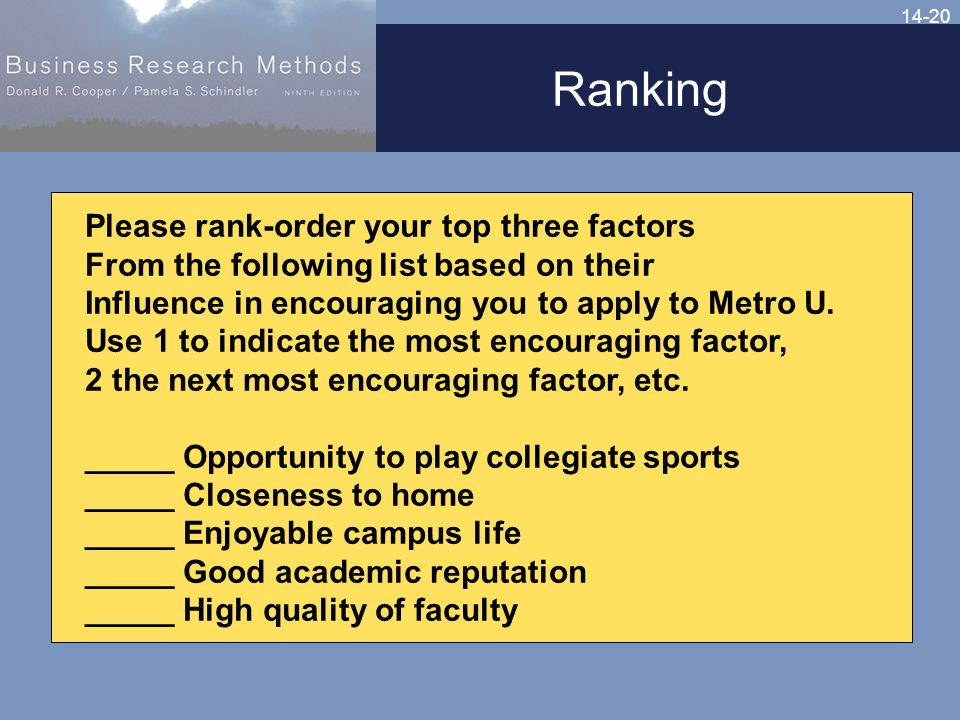 14-20 Ranking Please rank-order your top three factors From the following list based on their Influence in encouraging you to apply to Metro U.