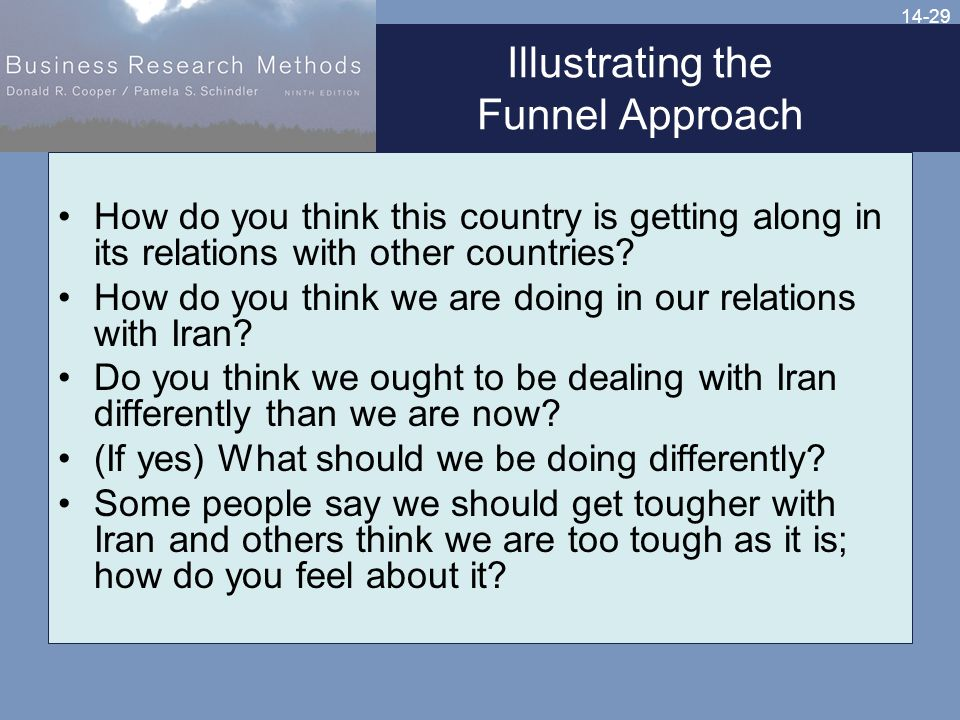 14-29 Illustrating the Funnel Approach How do you think this country is getting along in its relations with other countries.