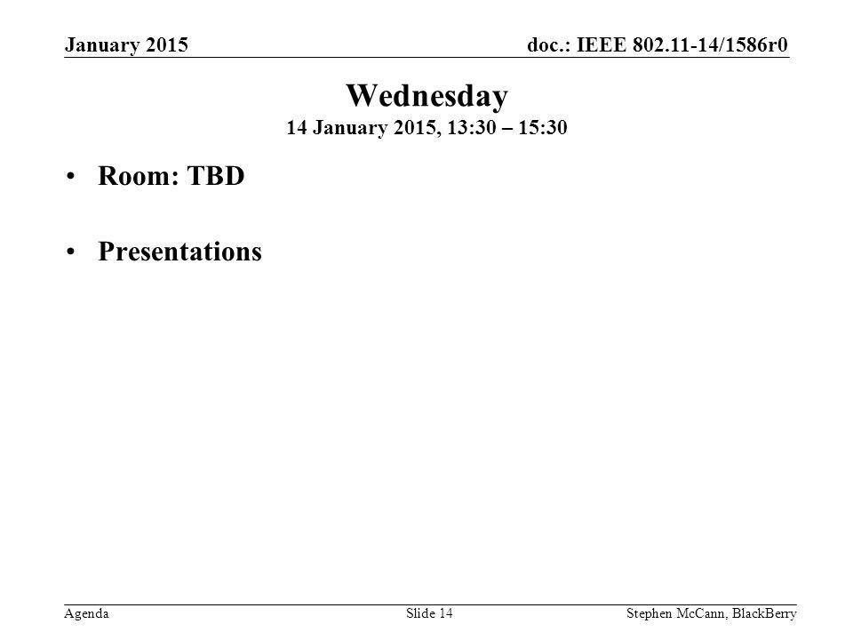 doc.: IEEE 802.11-14/1586r0 Agenda January 2015 Stephen McCann, BlackBerrySlide 14 Wednesday 14 January 2015, 13:30 – 15:30 Room: TBD Presentations