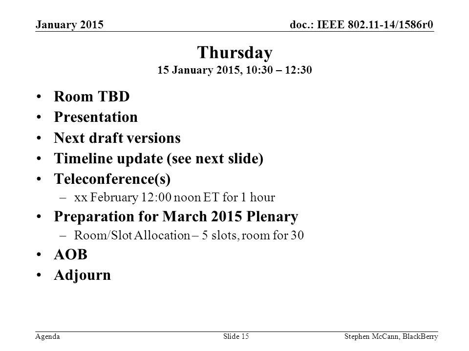 doc.: IEEE 802.11-14/1586r0 Agenda January 2015 Stephen McCann, BlackBerrySlide 15 Thursday 15 January 2015, 10:30 – 12:30 Room TBD Presentation Next draft versions Timeline update (see next slide) Teleconference(s) –xx February 12:00 noon ET for 1 hour Preparation for March 2015 Plenary –Room/Slot Allocation – 5 slots, room for 30 AOB Adjourn
