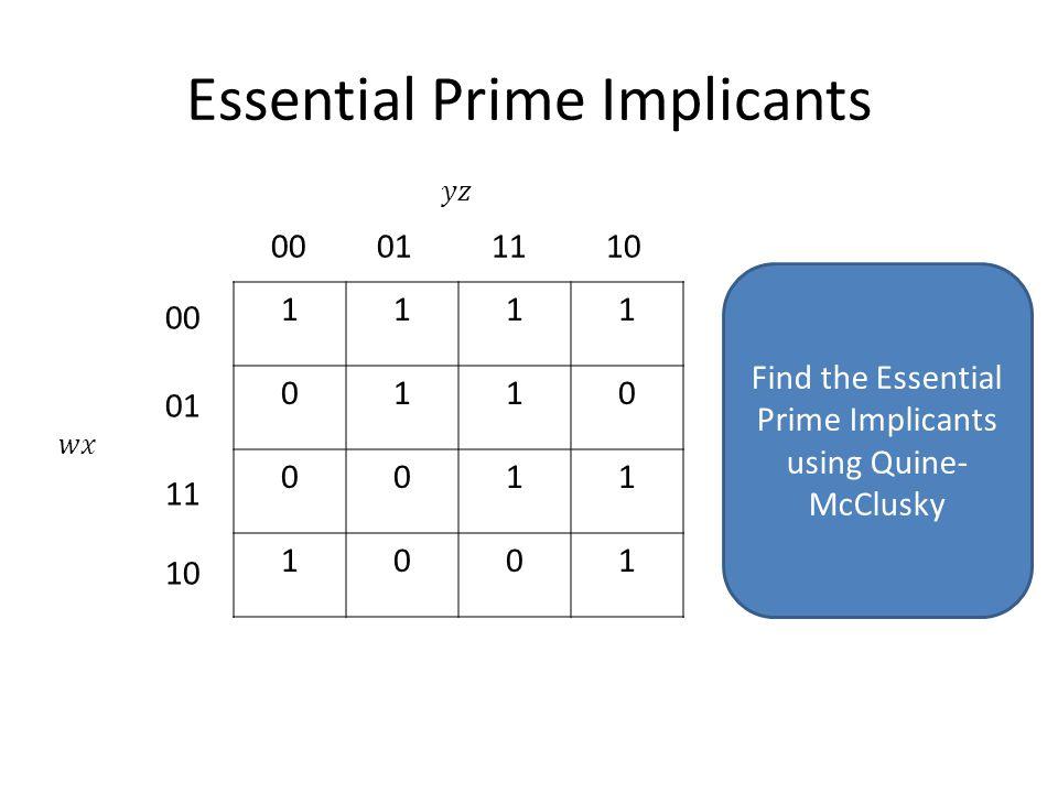 Essential Prime Implicants 1111 0110 0011 1001 00011110 00 01 11 10 Find the Essential Prime Implicants using Quine- McClusky